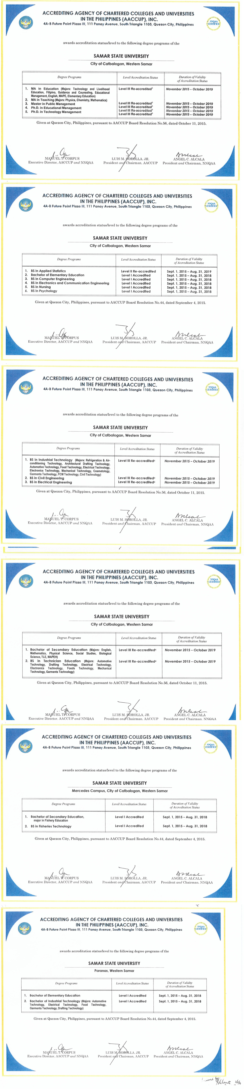 certificates-of-accreditation-levels
